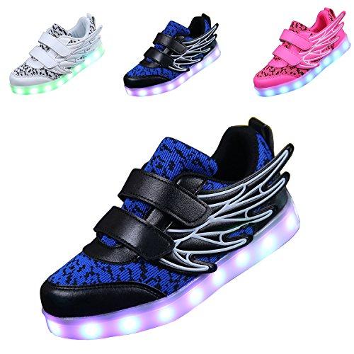 ECOTISH Unisex Kinder Neue LED Leuchten Schuhe 7 Farben, Die Blinkende aufladende Leuchtende Sport-Schuhe mit Flügel-Art-Art und Weiseturnschuhen Ändern (EU 34, Weiß)