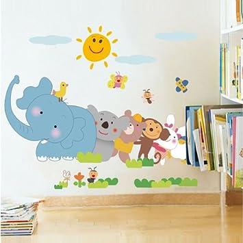 Fuloon Wandtattoo Tiere Wandsticker Kinderzimmer Wandtattoo Elefan