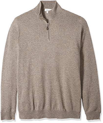 Williams Cashmere Men's Big and Tall 100% Cashmere Mock Neck Pullover Haff Zip Sweater, Fossil, 2XB