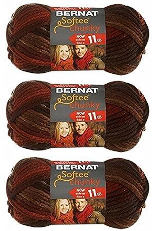 Bernat Softee Chunky Yarn, Super Bulky #6, 3 Skeins, Terra Cotta Mist