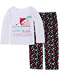 Toddler Girls Santa Loves Cupcakes Pajama Heart 2 Piece Sleep Set 2T