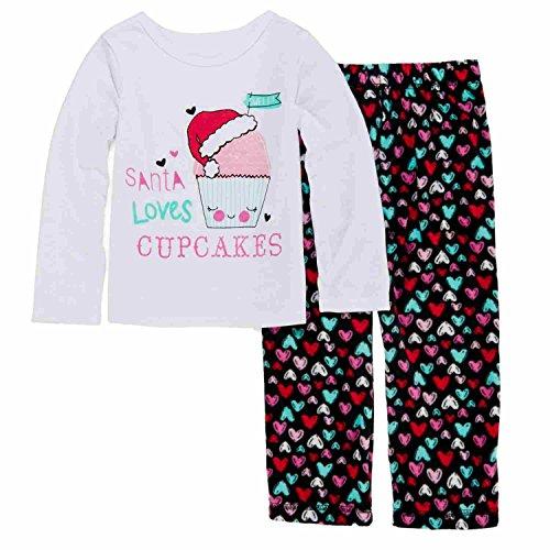 Toddler Girls Santa Loves Cupcakes Pajama Heart 2 Piece Sleep Set 2T White