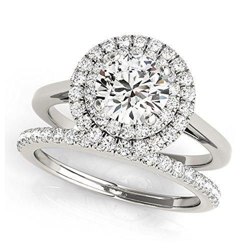 14K White Gold Unique Wedding Diamond Bridal Set Style MT50987