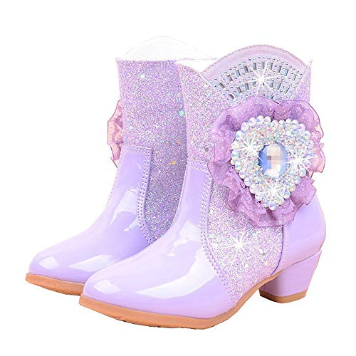 Girls Rhinestone, Glitter High-Heeled Snow Boots with Butterfly & Plush, Mid-Calf, Princess PU Leather Winter Party Shoes (Purple,EU 32/1 M US Little Kid)