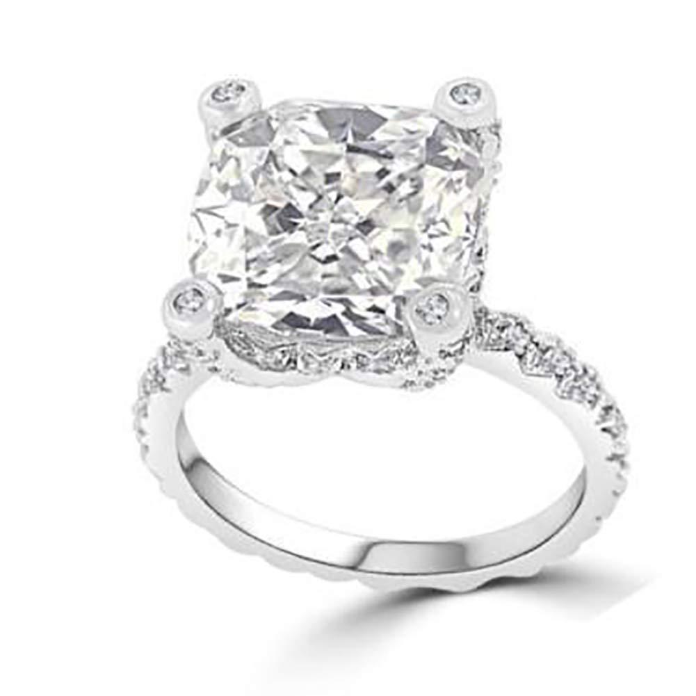 Slendima Creative Square Rhinestone Inlaid Wedding Ring Elegant Promise Engagement Party Jewelry US 7