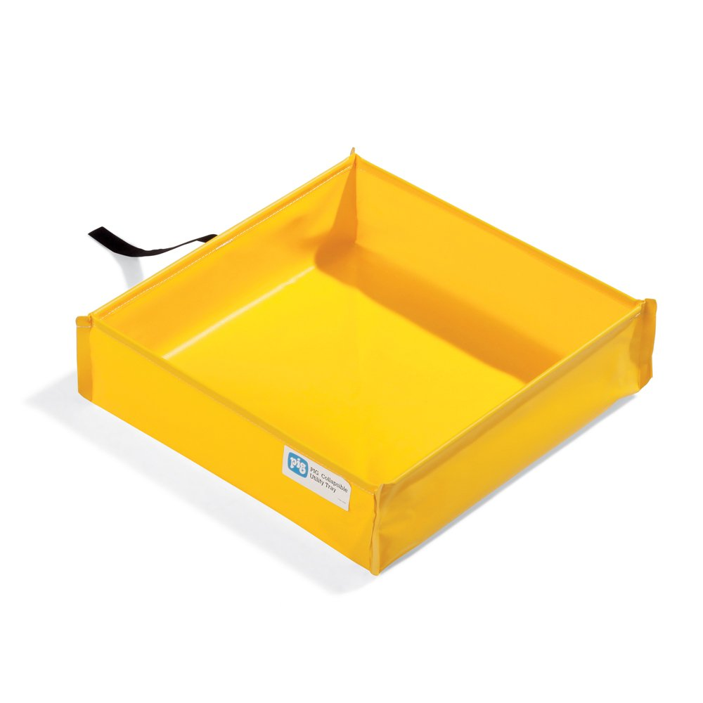 New Pig PAK290 PVC Collapsible Utility Tray, 7.7 Gallon Sump Capacity, 18'' Length x 18'' Width x 5-1/2'' Height, Yellow