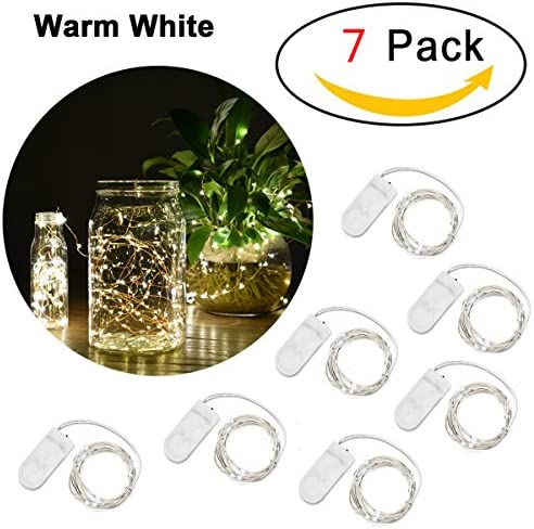 AYG LED String Lights 20 Led 7.2foot Fairy Lights Battery Operated Warm White Dimmable Bright Lights With Over Current Protection For Indoors,Outdoors,Weddings,Home Decor,Garden,Patio 7Pack