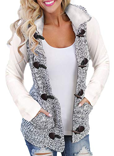 Sidefeel Women Hooded Sweater Vest Cable Knit Cardigan Outerwear Coat XX-Large Multicolor by Sidefeel