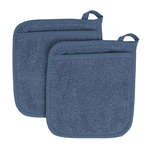 Ritz Royale Collection 100% Cotton Terry Cloth Pocket Mitt Set, Dual-Function Hot Pad / Pot Holder, 2-Piece, Federal Blue - Blue Piece Cloth