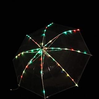 MoLiYanZi Danse du Ventre Performance Props LED Parapluie Tige Droite Multicolore Lumière émettant Parapluie Accessoires de Danse de Festival One Size
