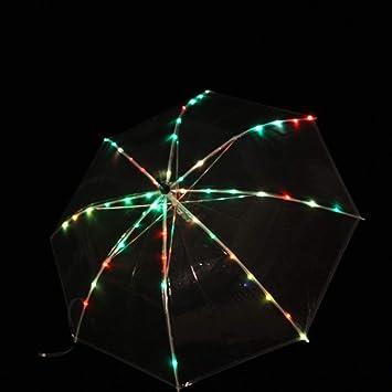 MoLiYanZi Atrezzo de Rendimiento de Danza del Vientre Paraguas LED Varilla Recta Paraguas Emisor de luz