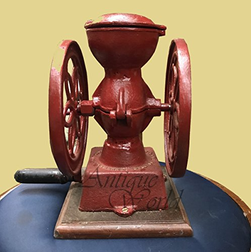 Antiques World Vintage Red Iron Foundry 1920 Stowmarket Suffolk Iron Cast Adjustable Coffee Grinder AWUSAHB 0140