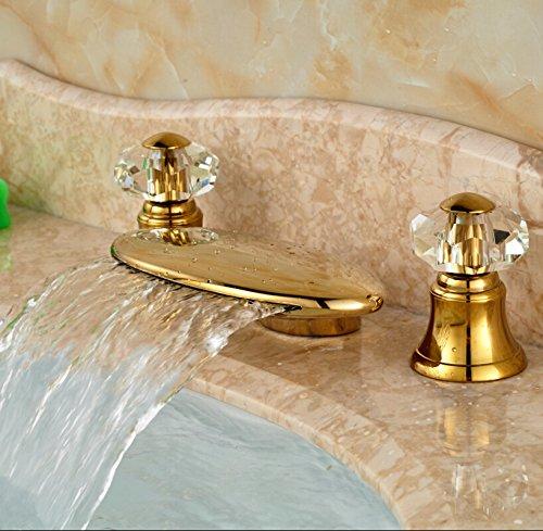 5151buyworld Top Qualität Wasserhahn Golden Messing Wasserfall Auslauf Badezimmer Badewanne Wasserhahn Deck Mount Dual Cristal Griffe Waschbecken Mixer Wasser tapsfor Bad Küche Home Gaden (begriffsklärung), 1,
