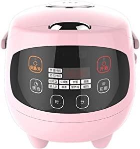 SLFD Mini Rice Cooker 1.5L Ceramic Crystal Liner Pot Electric Porridge Cooking 24H Booting Nonstick Pot Easy Cleaning Removable Pink