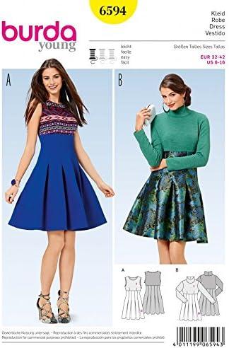 Burda fácil patrón de costura para 6594 cintura alta falda ...