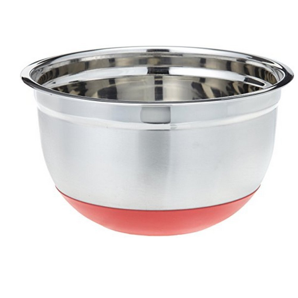 JINBEST Stainless Steel Mixing Bowls Non-Slip Silicon Base Basin For Baking Mixing Kitchen Tools (Red Bottom)