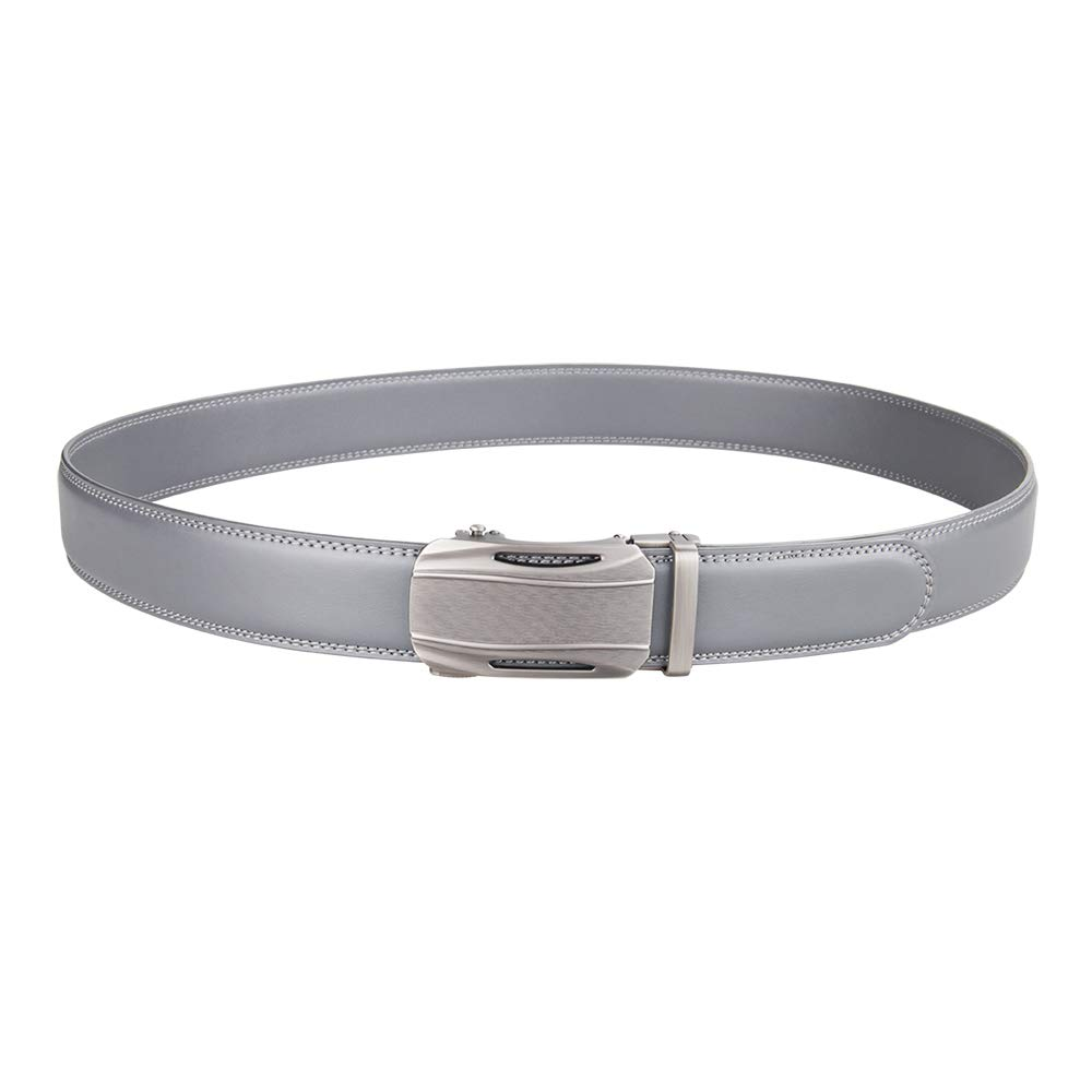 Trim to Fit Mens Solid Buckle with Automatic Ratchet Dress Genuine Leather Belt 35mm Wide 1 3//8