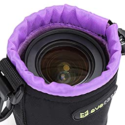 Lens Pouch Evecase Set of 3 Neoprene Pouch Bag with Soft Flush interior For DSLR Digital Camera Lens - Small / Medium / Large