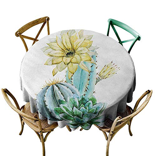 Zmlove Cactus Natural Tablecloth Vector Image with Watercolored Cactus with Spikes and Alluring Flowers Print Machine Washable Blue and White (Round - 35