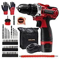 Toolman 12V Cordless Drill Set with 44pcs Driver/Drill Bits, 1/2 Keyless Chuck, 2 Variable Speed, 25+1 Torque Setting ZTP036