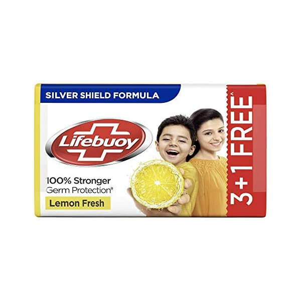 """Lifebuoy Lemon Fresh 100% Stronger Germ Protection Soap Bar, 125 g (Pack of 4) 2021 June Lifebuoy Total, total 10 soaps, protection from infection causing germs With Activ Silver Formula €"""" the powerful germ protection formula to fight against stronger germs Protects you and your family members from germs which cause common illnesses and infections like flu, cough, cold, skin infections, rashes and stomach infections"""