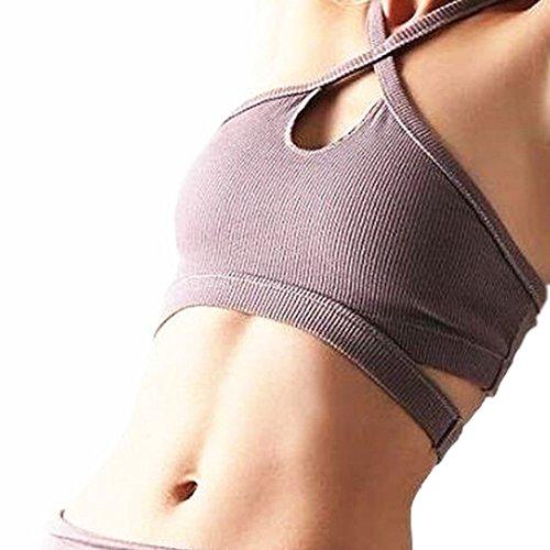Fitness Bear Sujetador deportivo para mujer Sujetador deportivo para yoga - Sencilla - Suela deportiva de bajo impacto para mujeres sin tapa de acero Humo Rosa