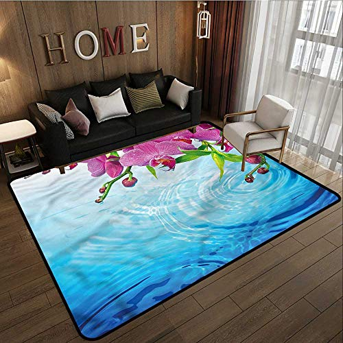 Outdoor Patio Rug Floral Vibrant Orchid Spa Water Anti-Slip Doormat Footpad Machine Washable 4'7