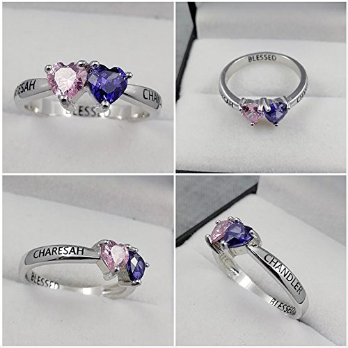 Love Jewelry Personalized Mother Rings with 2 Heart Simulated Birthstones Custom Engagement Ring Promise Rings for Her (7) by Love Jewelry (Image #6)