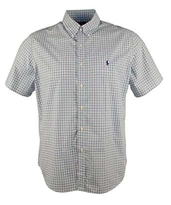 Polo ralph lauren men 39 s tattersall poplin sport shirt for Button up collared sport shirts