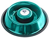 Platinum Pets Extra Heavy One Piece Stainless Steel Non Tip-Anti Skid Health Care Slow Feeding Dish, Small, Caribbean Teal, My Pet Supplies
