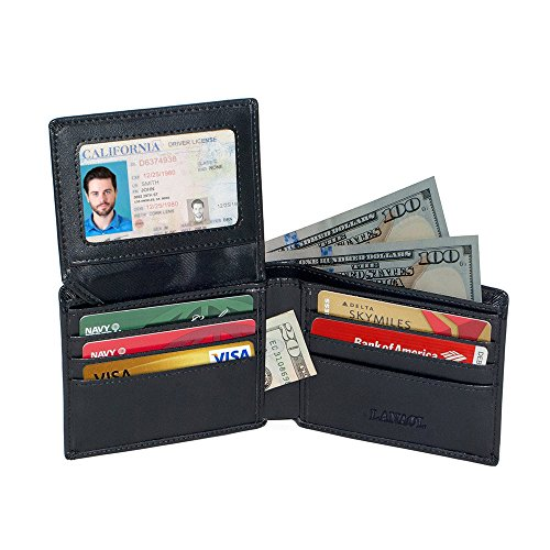 Blocking Protector Pocketing Genuine LANAOL Credit Electronic Wallets RFID Travel Card Stop Wallet Pick Leather Bifold Stylish Excellent 5vxxOp