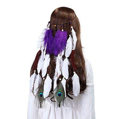 Feather Headband Women Festival Peacock Feather Bridal Wedding Headband Headdress ()