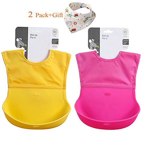 Soft Silicone Baby Bib, Chilly Roll Up Toddler Bibs, Waterproof Pocket Baby (Fabric Baby Bib)