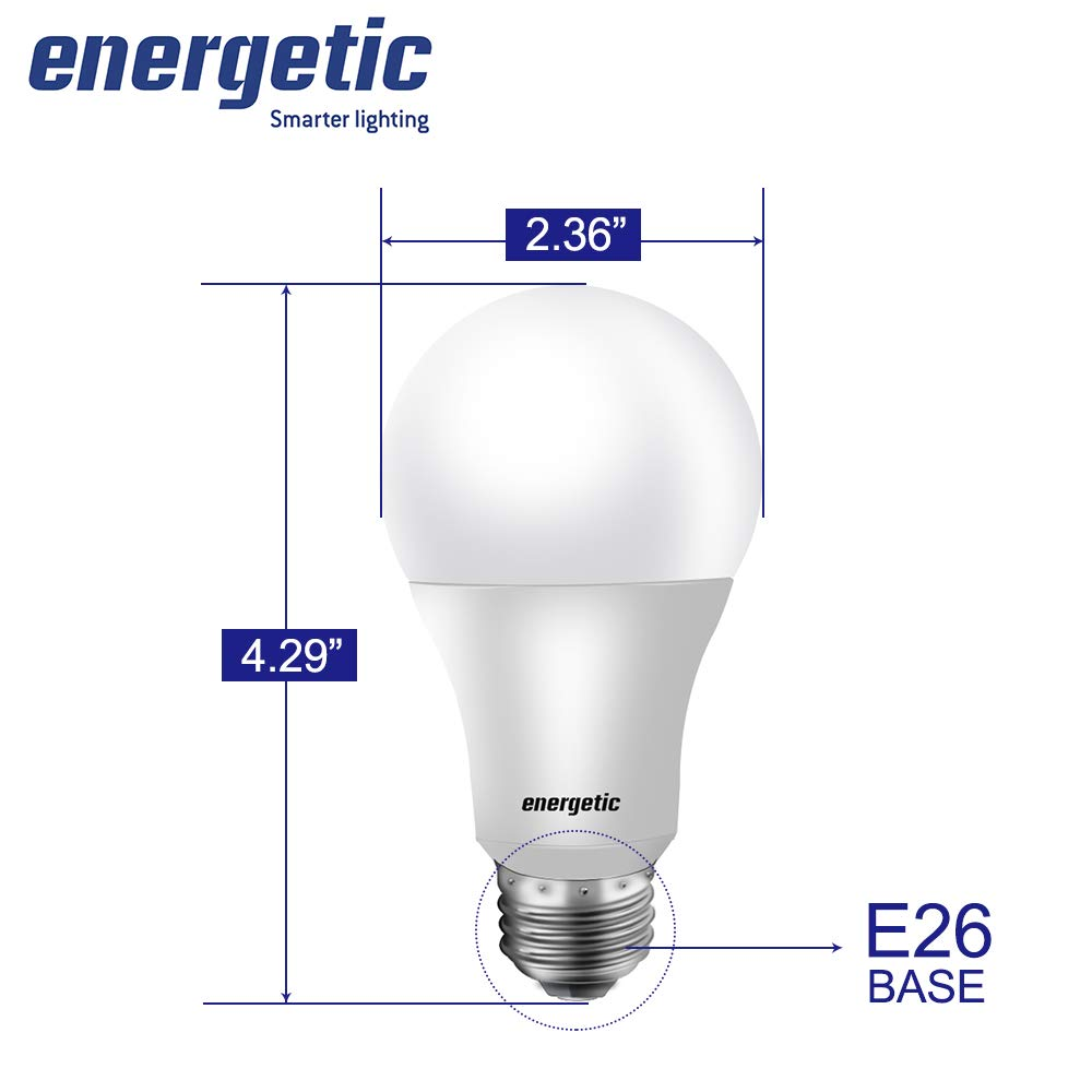 60W Equivalent, A19 LED Light Bulb, Warm White 3000K, E26 Base, Non-Dimmable, 750lm, UL Listed, 4-Pack