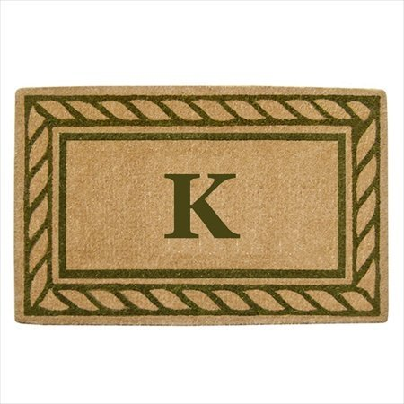 Creative Accents Heavy Duty Coco Mat with Olive Branch Border, 22 by 36-Inch, Monogrammed M (Monogram Coco Mat)