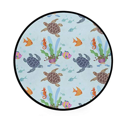 (Round Area Rug Cute Turtle Fish Art Deco Non-Slip Backing Playing Floor Mat for Living Room Bedroom, 3 Feet Diameter)