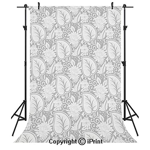 (Grey Photography Backdrops,Big Leaves on Old Fashion Floral Background Feminine Dramatic Style Retro Graphic Print Deco Decorative,Birthday Party Seamless Photo Studio Booth Background Banner 5x7ft,Gr)