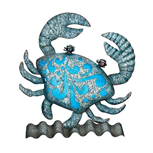 Metal Crab - Regal Art & Gift 8.5 Inches X 3 Inches X 9 Inches Metal/Glass Coastal Table/Wall Decor - Crab