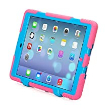 iPad Air 2 Case, iPad 6 Case,Fits Newest iPad ACEGUARDER® [Shockproof] [Heavy Duty] [Military] Extreme Tough & Drop Resistance Soft Silicone Full Body Rugged Protective Cover Case with Kickstand for Apple New iPad/Air 2. (Whistle + Stylus Pen + Carabiner) (Rose/Blue)