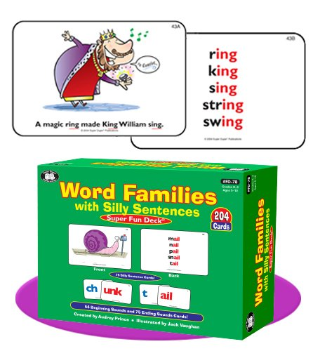 Super Duper Publications Word Families with Silly Sentences Fun Deck Flash Cards Educational Learning Resource for Children by Super Duper Publications