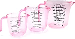 Geqian1982 Set of 3 Measuring Cups Plastic Cup Set Stackable for Baking and Cooking with Handles