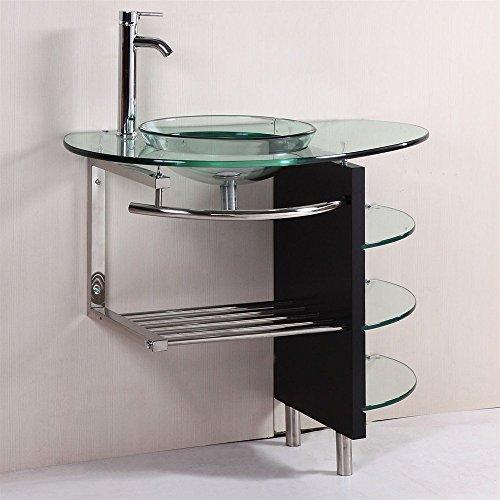 [해외]현대 유리 베니 티 콤보 선반 세트/Contemporary Glass Vanity Combo ...