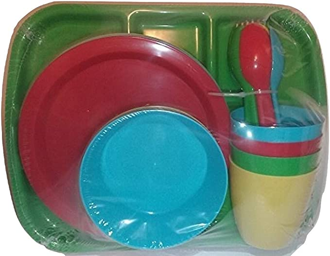 New Boyz Toys RY688 Brightly Coloured Four Pack Durable Plastic Picnic Plates