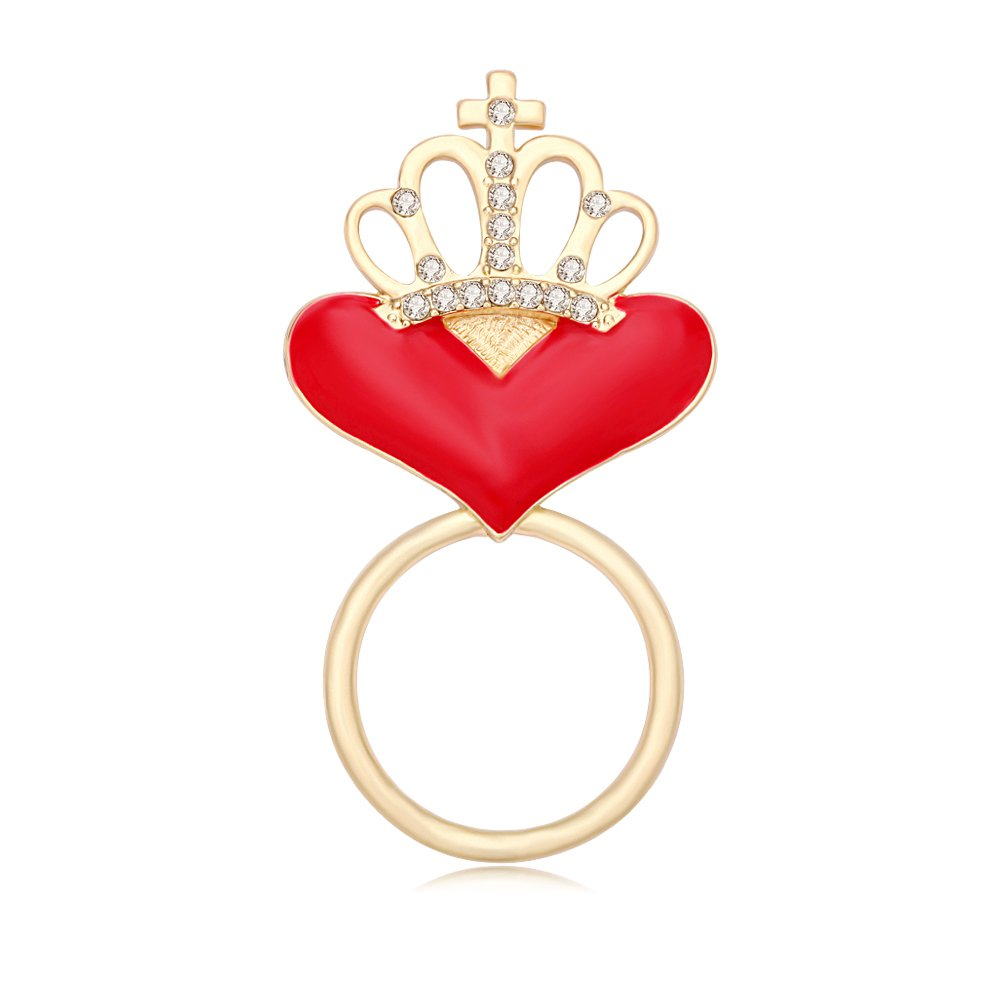 TUSHUO Red Hear Shaped Crown Design Gold-Plated Queen Strong Magnetic Eyeglass Holder