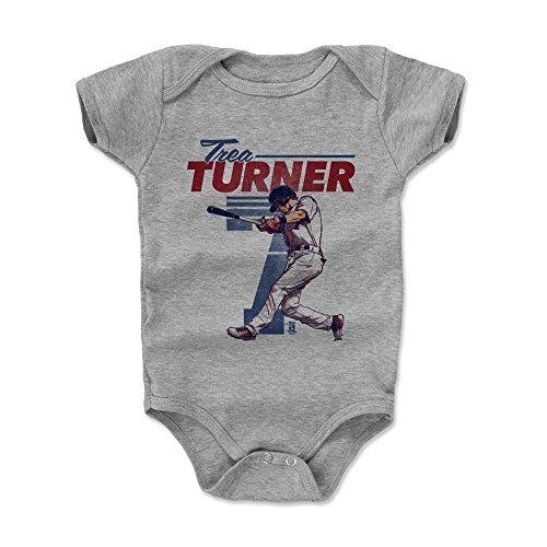 (500 LEVEL Trea Turner Baby Clothes, Onesie, Creeper, Bodysuit 6-12 Months Heather Gray - Washington Baseball Baby Clothes - Trea Turner Retro B)