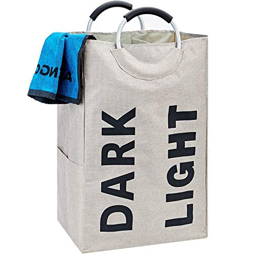 HOMEST Double Laundry Hamper Bag Handle Easily Transport Foldable Large Laundry Basket, Beige