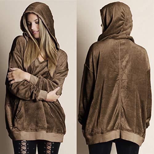 Hoodies Felpe Moda Maglione Primavera Lunga Sweatshirt Cappuccio Tumblr Autunno Manica Con Tops Velluto Ajpguot Donna Sweater Cachi Pullover 7vnAHdwq4R