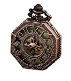 Pocket Watch - Classical Gift - Steampunk Skeleton Mechanical Automatic Hand Wind Pocket Watch (Rose Gold) - Best Christmas Gift