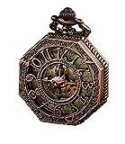 Pocket Watch,Retro Copper Classic Skeleton Steampunk Mechanical Roman Numeral Pocket Watch