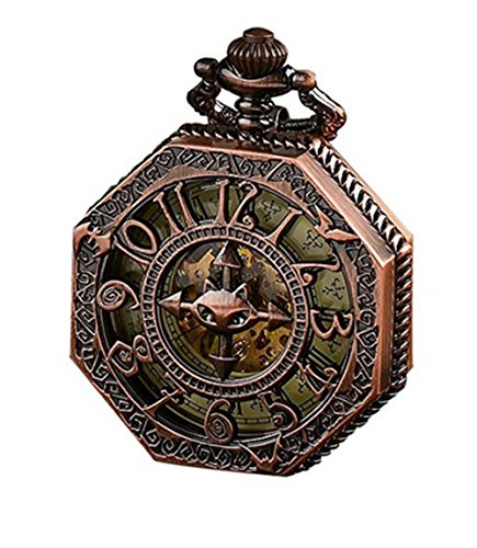Pocket Watch,Classical Gift,Steampunk Skeleton Mechanical Automatic Hand Wind Pocket Watch (Rose Gold),Best Christmas Gift